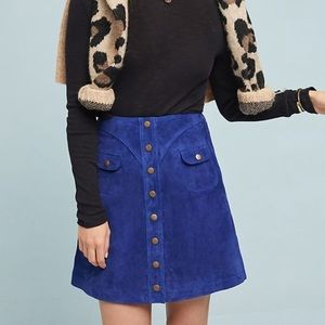 Anthropologie Suede 100% Leather Button Down Skirt